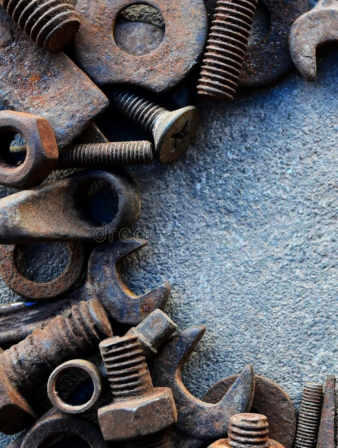 Many rust steel on cement ground. Detail many rust steel on cement ground abstract ancient angle background backgrounds brown closeup concrete copy details dirt royalty free stock photography