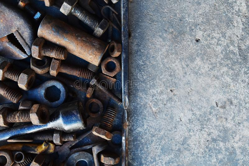Many rust steel on cement ground. Detail many rust steel on cement ground abstract ancient angle background backgrounds brown closeup concrete copy details dirt stock photos