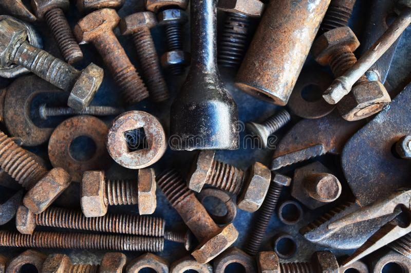 Many rust steel on cement ground. Detail many rust steel on cement ground, abstract, ancient, angle, background, backgrounds, bolt, brown, closeup, concrete royalty free stock photography