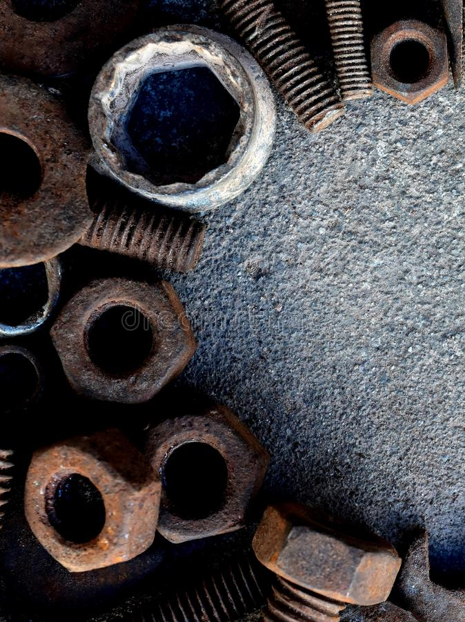 Many rust steel on cement ground. Detail many rust steel on cement ground abstract ancient angle background backgrounds brown closeup concrete copy details dirt stock image