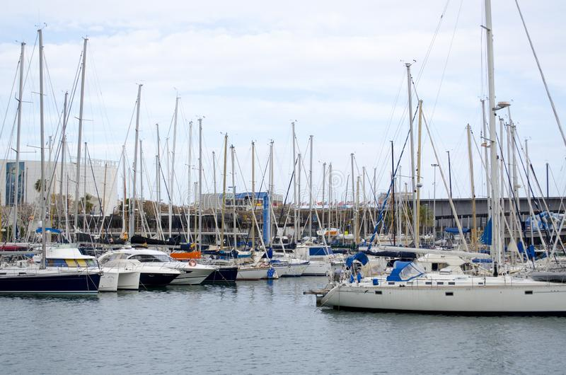 Sailboats in the harbor, Barcelone, in Catalonia, Spain stock photo