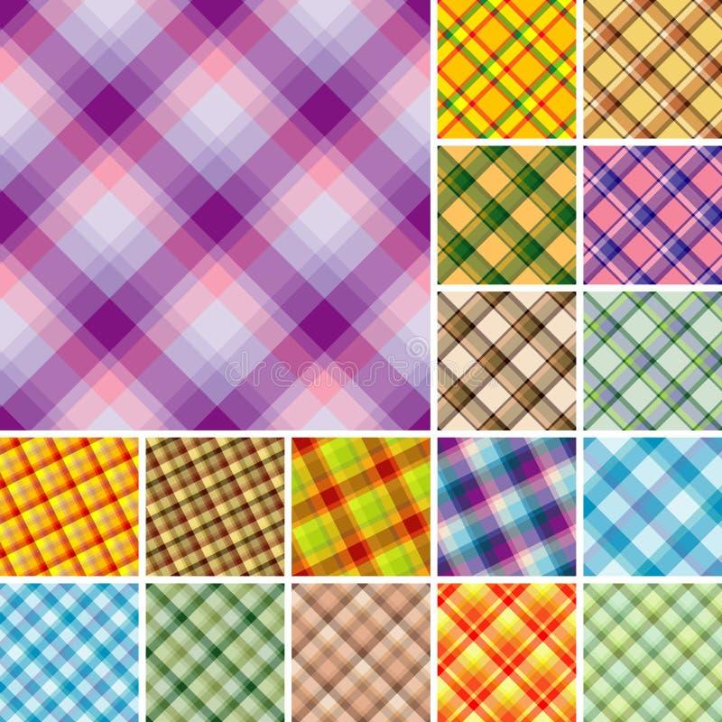 Many seamless plaid patterns stock illustration