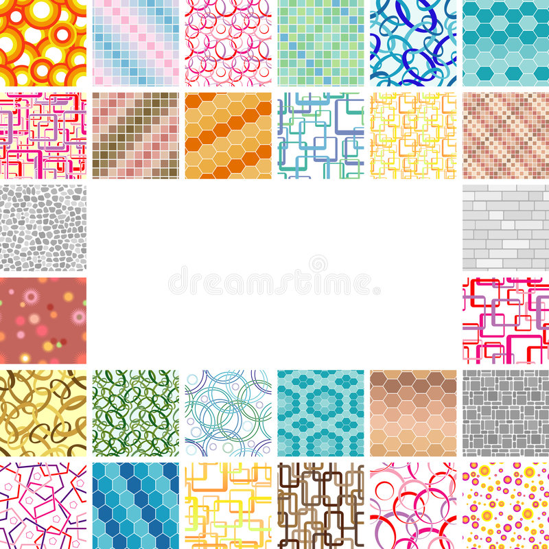 Many seamless wallpapers royalty free illustration