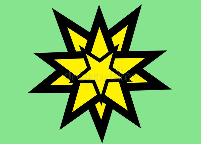Many several multiple yellow stars of different sizes with black bold outlines against a light bright green backdrop royalty free stock photography