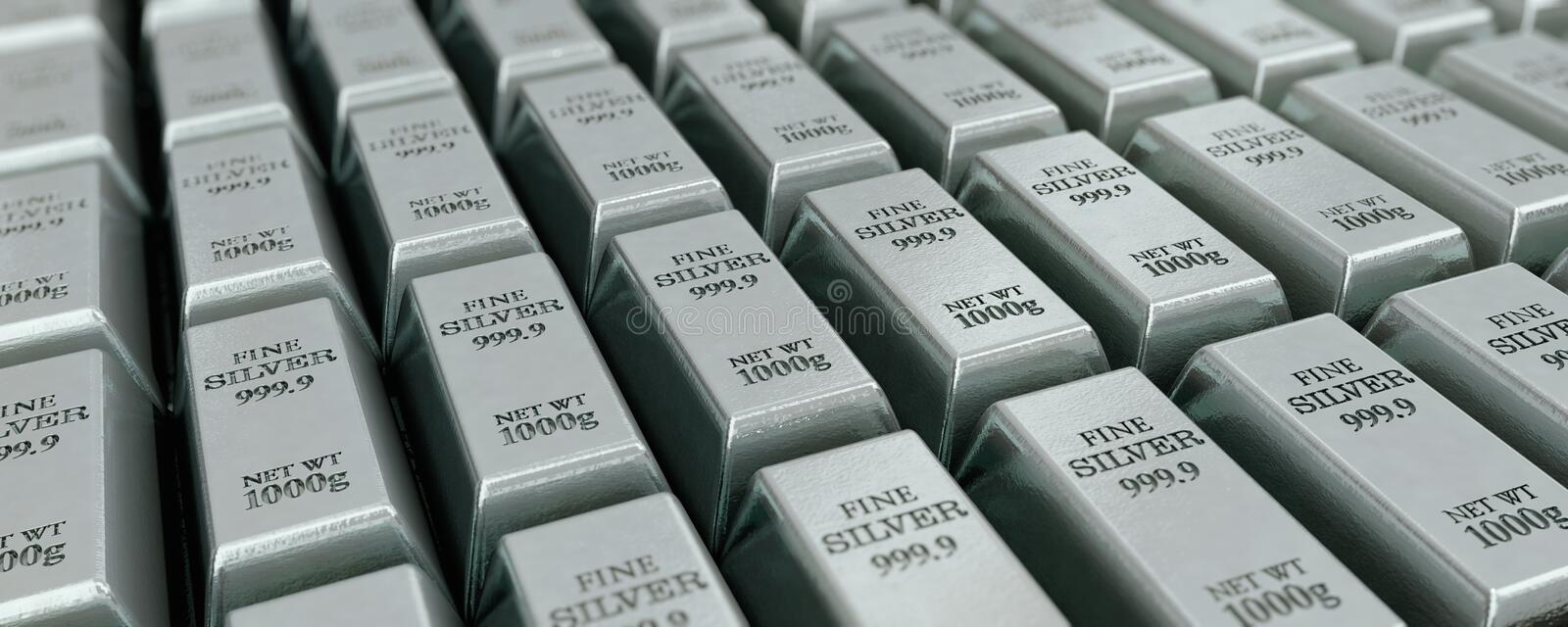 Many silver bars. 3D illustration for example as background image vector illustration