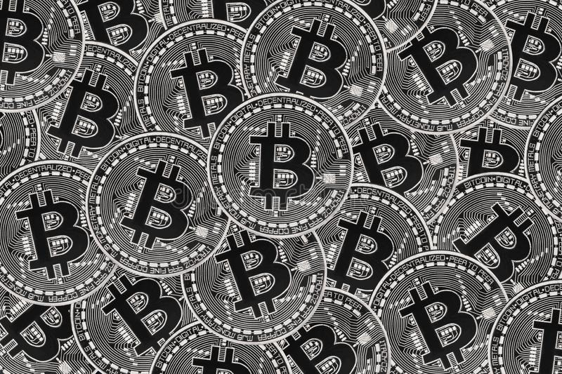 Many silver coins with Bitcoin sign, It is a cryptocurrency background. Bitcoin is an internet payment network and also cryptocurrency in this network 3d alt vector illustration