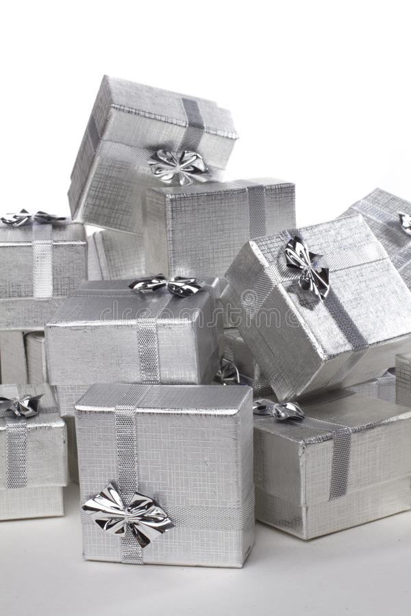 Many silver gifts stock photo