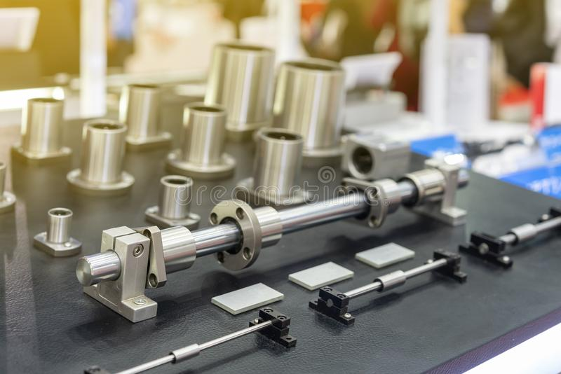 Many size of high quality and precision linear bushing drive or slide bar and lead ball bearing of machine on table for industrial. Work royalty free stock images
