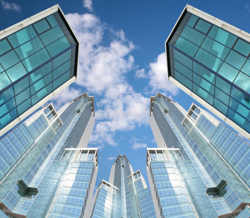 Many skyscrapers on sky background, collage stock images