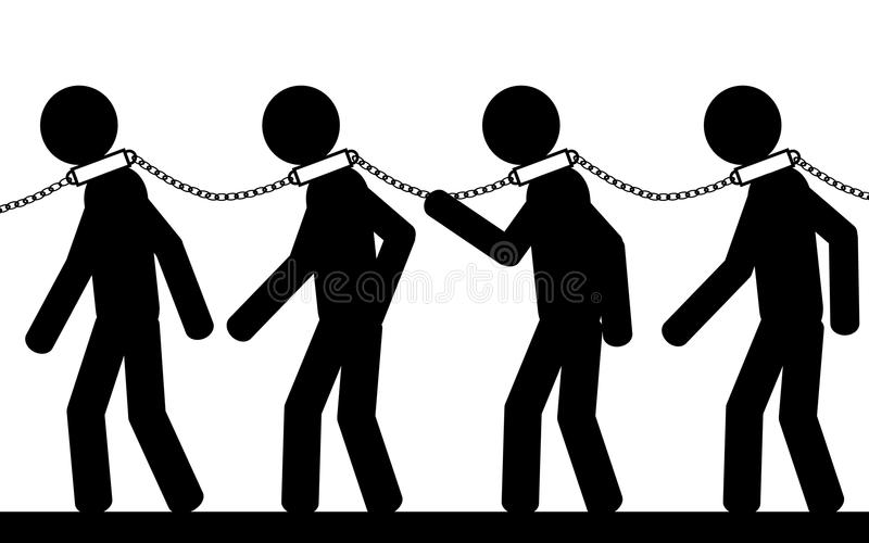 Many slaves. Vector , illustration. Men with chain on their neck. They are slaves royalty free illustration