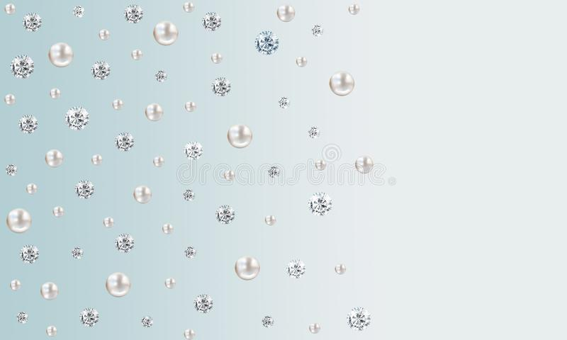 Many small and big white pearls on blue gradient satin background royalty free illustration