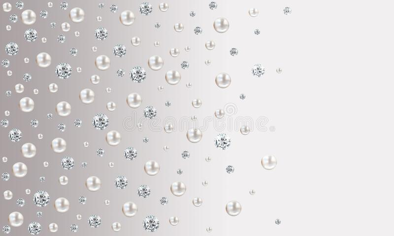 Many small and big white pearls on grey gradient satin backgroun vector illustration