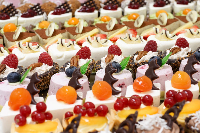 Many small desserts royalty free stock photo