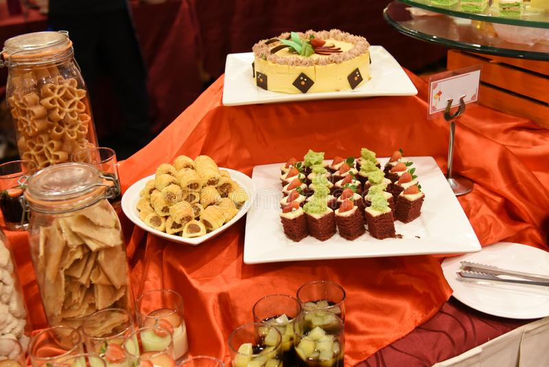 Many small desserts. stock images