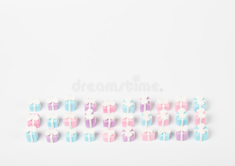 Many small gifts, sugar confectionery royalty free stock photo