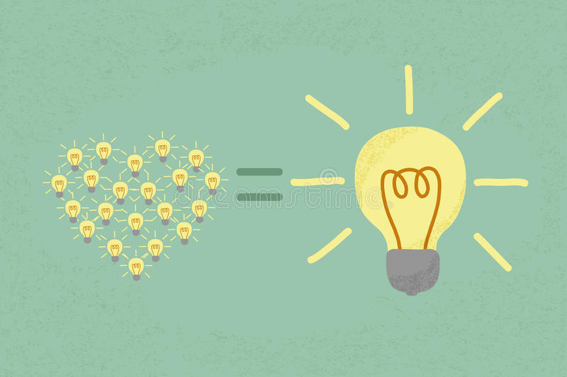 Many small ideas equal a big one idea. Eps10 format royalty free illustration