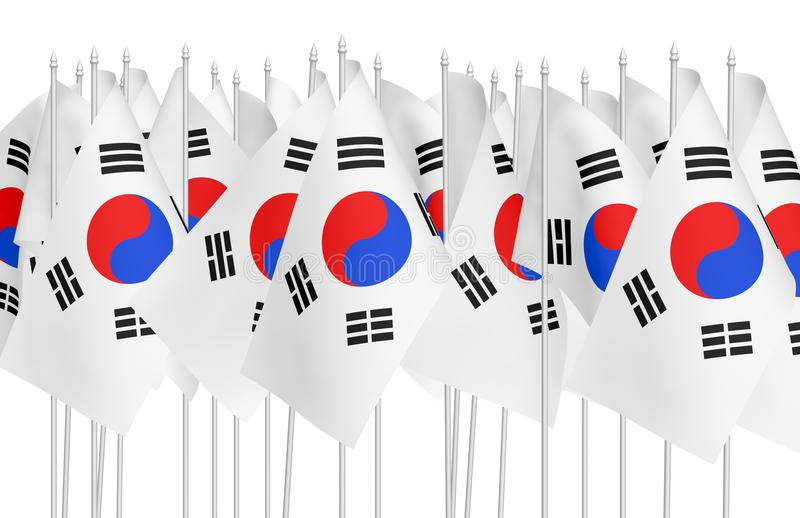 Many small korean national flags royalty free illustration