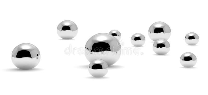 Many small mercury Hg metal drops closeup royalty free illustration