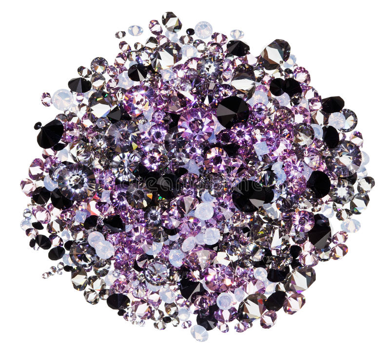 Download Many Small Purple Diamonds Heap Isolated On White Stock Photography - Image: 21934272