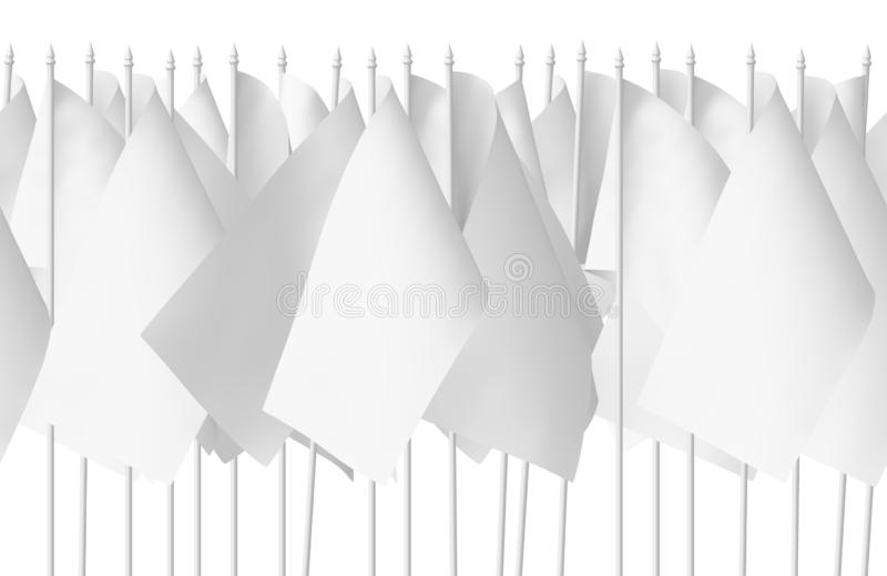 Many small white flags seamless isolated stock illustration
