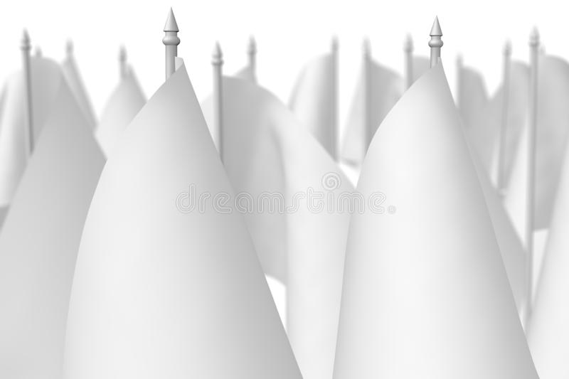 Many small white flags with selective focus stock illustration