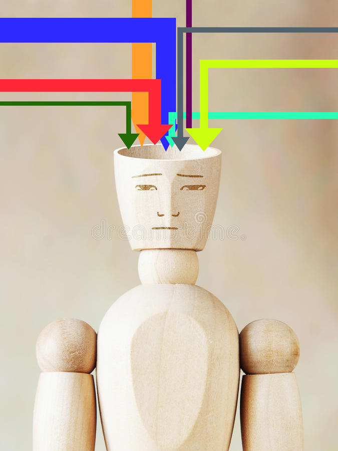 Many sources of information fill human head. Concept of man conscious royalty free stock images