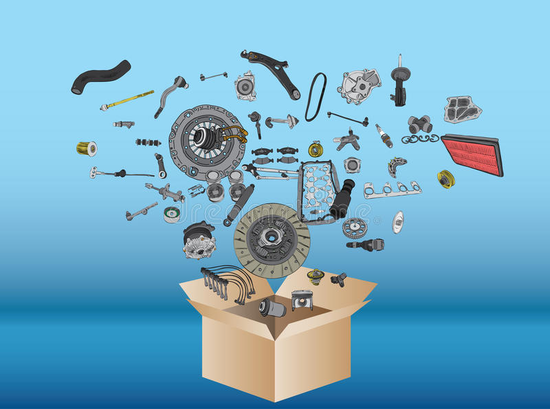 Many spare parts flying out of the box vector illustration