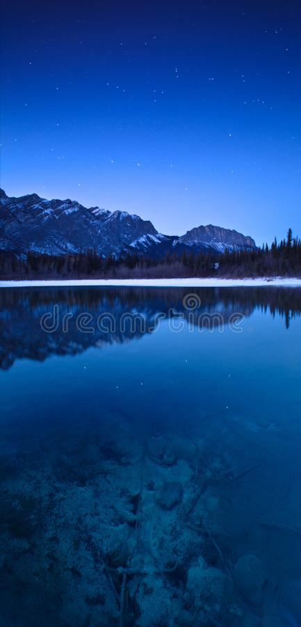 Many Springs in Bow Valley Provincial Park, Alberta, at night royalty free stock image
