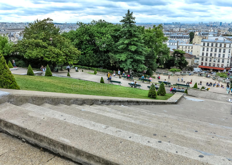 The many steps in front of Sacre Coeur in Paris royalty free stock photos
