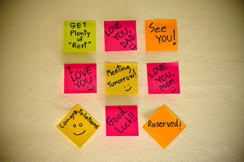 Many Sticky Note. On brown walls royalty free stock images