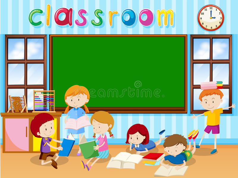 Many students reading book in the classroom stock illustration