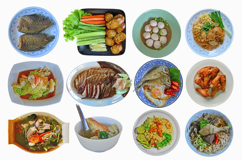 Many styles of Asian food collection on white background. Many styles of yummy Asian food menu collection on white background royalty free stock photography