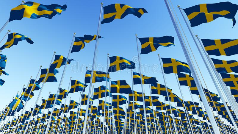 Many Sweden Flags blowing in the wind stock illustration