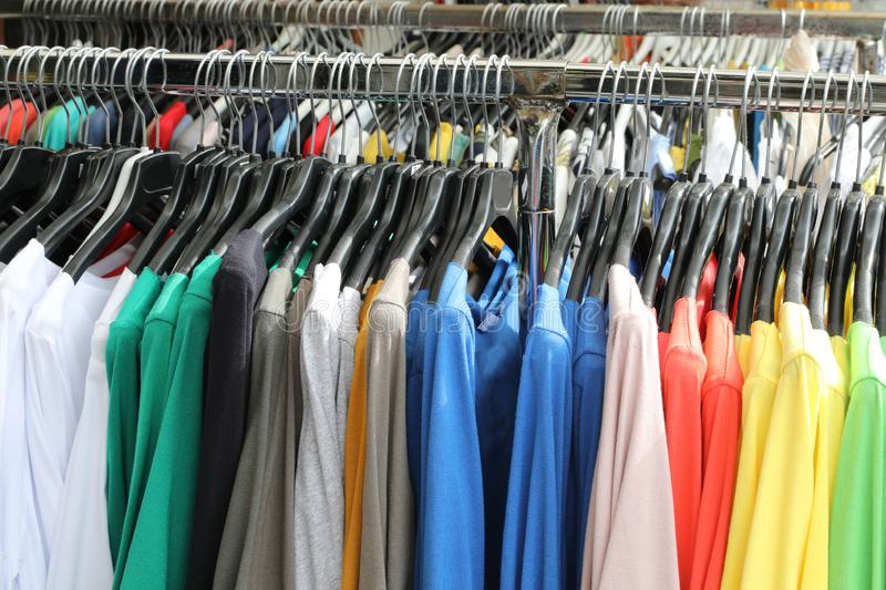 many t-shirts for sale royalty free stock image