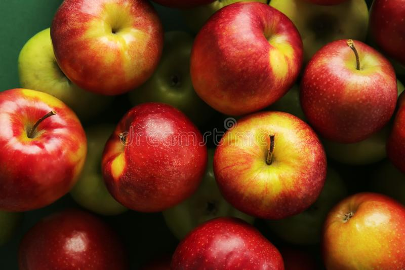 Many tasty apples, top view stock image
