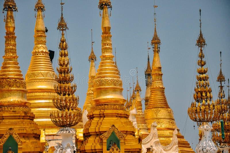 Many temples in Shwedagon Pagoda, Yangon. royalty free stock image