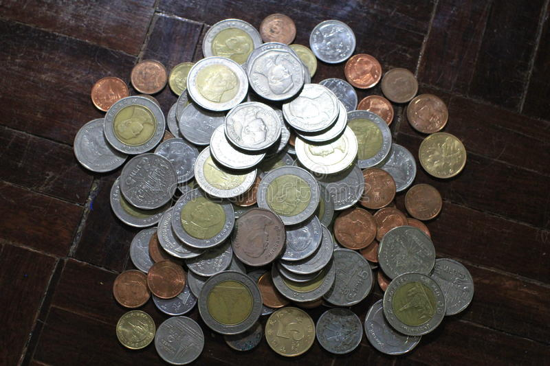 Many of Thai Baht silver and gold coins for business, finance and banking concept. stock photography