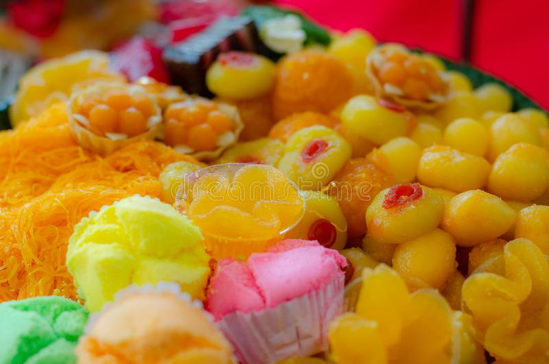 Many Thai desserts are arranged in dish. Many Thai desserts are arranged in a beautiful and appetizing dish royalty free stock photo