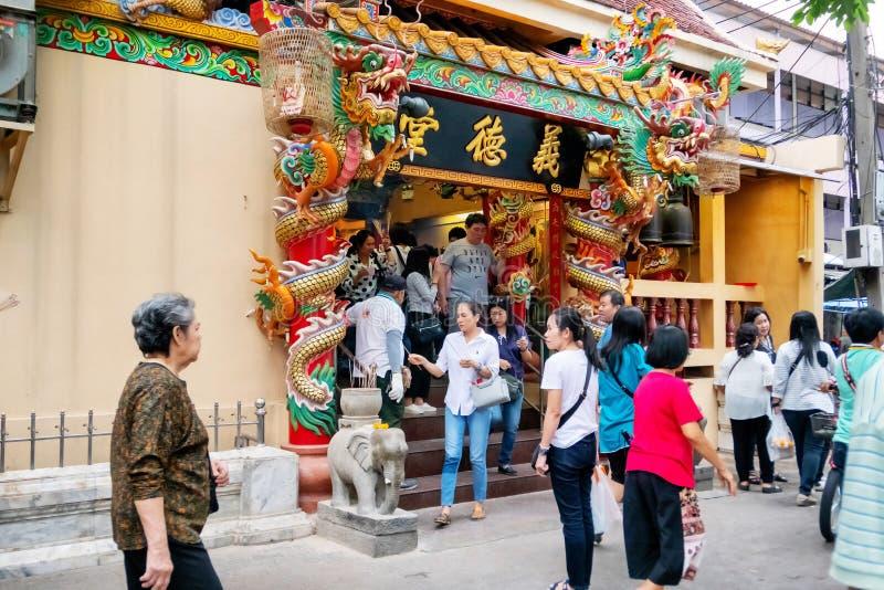 Many Thai people worship to the goddesses at Hualampong shrine every day. Bangkok, Thailand January 5, 2019 stock photo