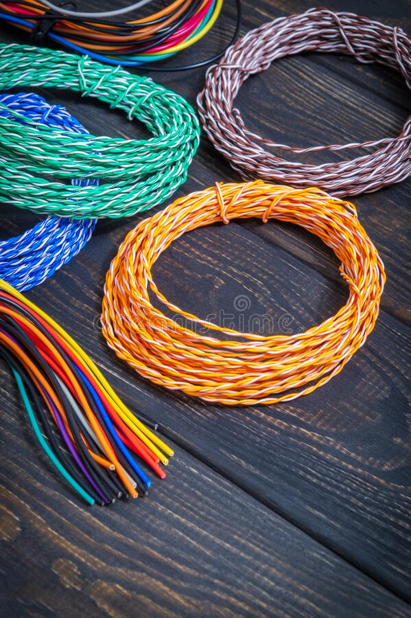 Many thin electrical wires of different colors, ables for telephone and internet connection stock image
