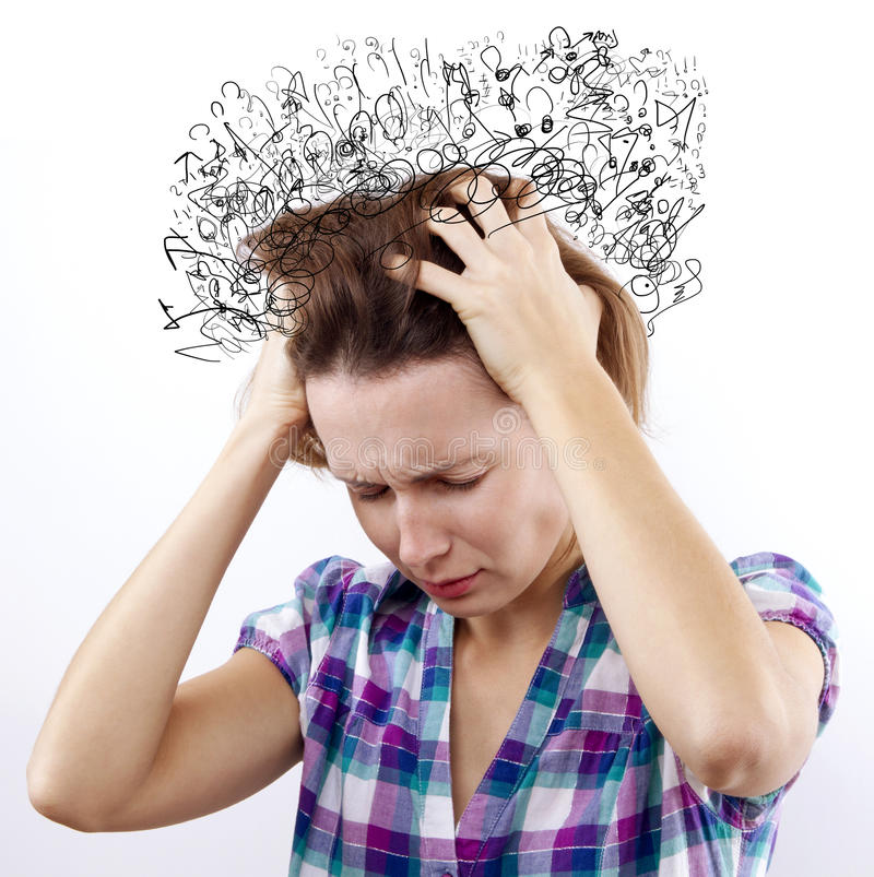 So many Thoughts. Woman with headache holding her hand to the head. So many Thoughts stock photo