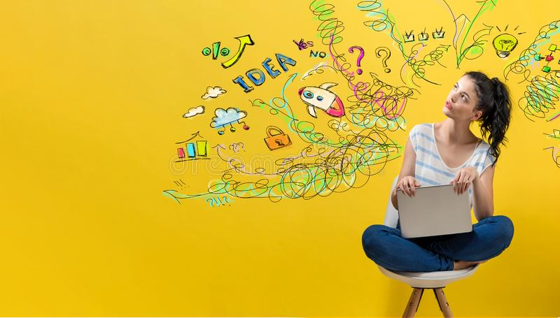 Many thoughts with woman using a laptop royalty free stock photo