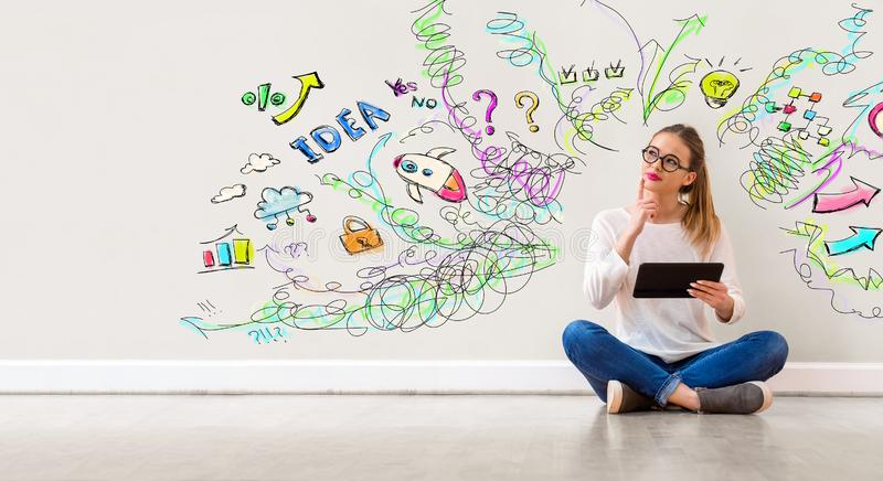 Many thoughts with woman using a tablet royalty free stock photo