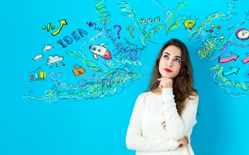 Many thoughts with young woman royalty free stock photos