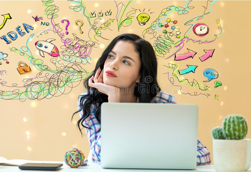 Many thoughts with young woman stock images