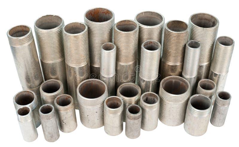 Many threaded pipes, isolated royalty free stock photos