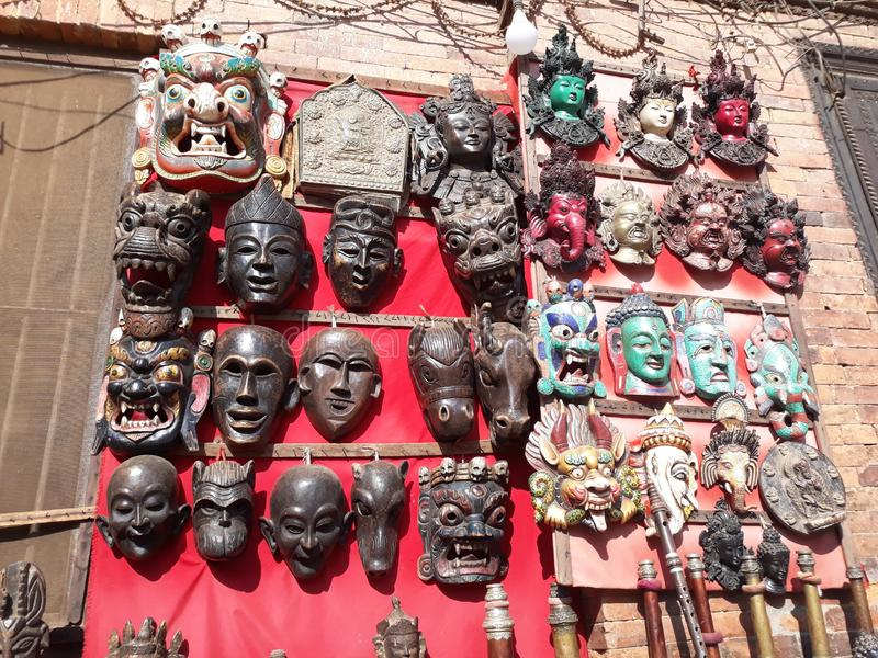 Traditional things marketing for Tourist. Many tourist are attracted in Bhaktapur, Nepal. They purchase different tradtional things for memory stock images