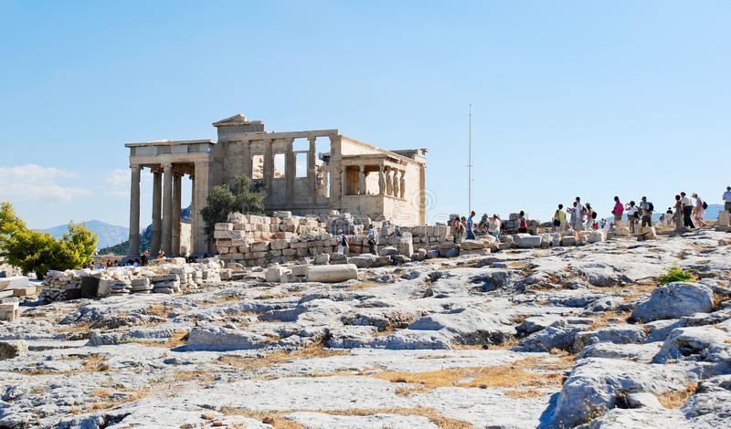 Many tourist near Porch of the Caryatids, Athens. Many tourists on historic Acropolis hill near Porch of the Caryatids, Athens, Greece royalty free stock images