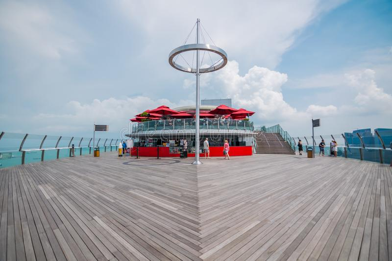 The wooden floor of sky park Observation Deck in Singapore. stock image