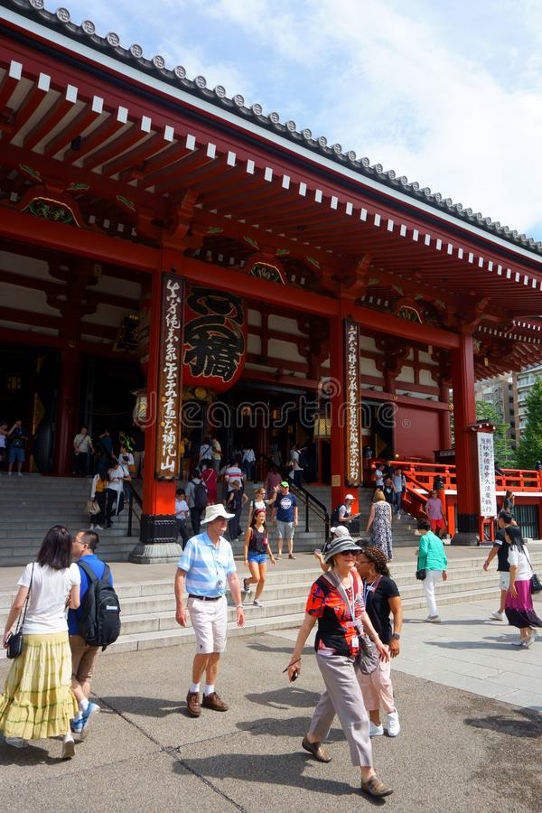 Many tourists of different nationalities in Asakusa Shrine. European tourists in Asia stock photography